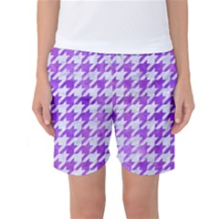 Houndstooth1 White Marble & Purple Watercolor Women s Basketball Shorts by trendistuff