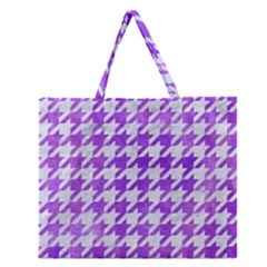 Houndstooth1 White Marble & Purple Watercolor Zipper Large Tote Bag by trendistuff