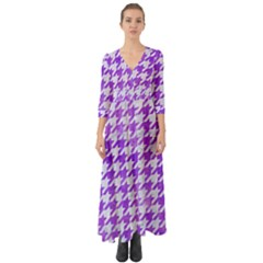 Houndstooth1 White Marble & Purple Watercolor Button Up Boho Maxi Dress