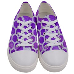 Hexagon2 White Marble & Purple Watercolor Women s Low Top Canvas Sneakers