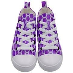 Hexagon2 White Marble & Purple Watercolor Kid s Mid Top Canvas Sneakers