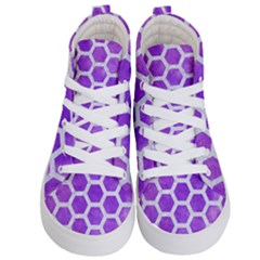 Hexagon2 White Marble & Purple Watercolor Kid s Hi Top Skate Sneakers