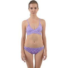 Hexagon1 White Marble & Purple Watercolor (r) Wrap Around Bikini Set