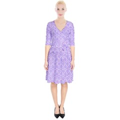 Hexagon1 White Marble & Purple Watercolor (r) Wrap Up Cocktail Dress