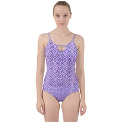 Hexagon1 White Marble & Purple Watercolor (r) Cut Out Top Tankini Set