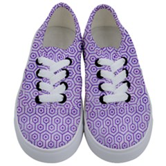 Hexagon1 White Marble & Purple Watercolor (r) Kids  Classic Low Top Sneakers
