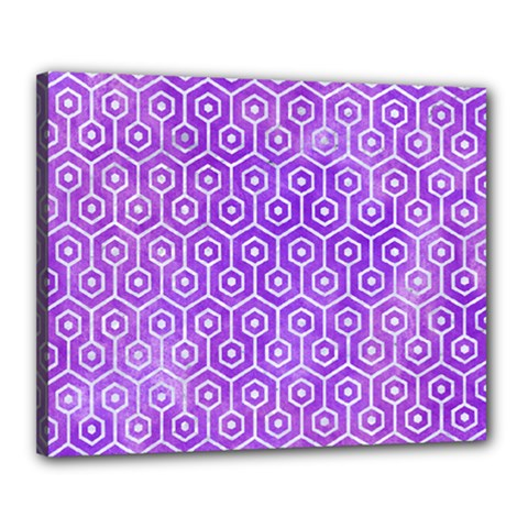 Hexagon1 White Marble & Purple Watercolor Canvas 20  X 16  by trendistuff