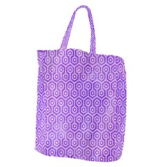 Hexagon1 White Marble & Purple Watercolor Giant Grocery Zipper Tote