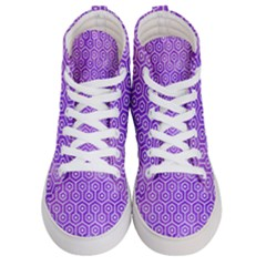 Hexagon1 White Marble & Purple Watercolor Men s Hi Top Skate Sneakers