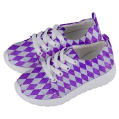 Diamond1 White Marble & Purple Watercolor Kids  Lightweight Sports Shoes by trendistuff