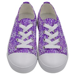 Damask2 White Marble & Purple Watercolor (r) Kids  Low Top Canvas Sneakers