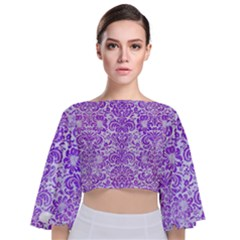 Damask2 White Marble & Purple Watercolor (r) Tie Back Butterfly Sleeve Chiffon Top