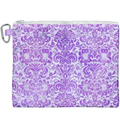 Damask2 White Marble & Purple Watercolor (r) Canvas Cosmetic Bag (xxxl)