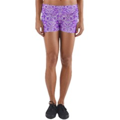 Damask2 White Marble & Purple Watercolor Yoga Shorts