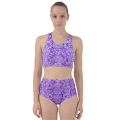 Damask2 White Marble & Purple Watercolor Racer Back Bikini Set
