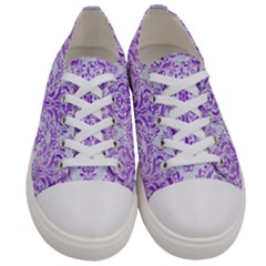 Damask1 White Marble & Purple Watercolor (r) Women s Low Top Canvas Sneakers