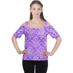 Damask1 White Marble & Purple Watercolor Cutout Shoulder Tee