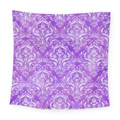 Damask1 White Marble & Purple Watercolor Square Tapestry (large) by trendistuff
