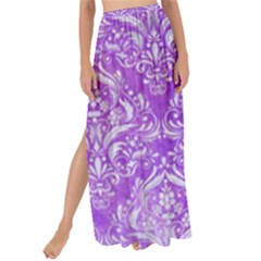Damask1 White Marble & Purple Watercolor Maxi Chiffon Tie Up Sarong