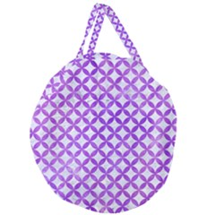 Circles3 White Marble & Purple Watercolor (r) Giant Round Zipper Tote
