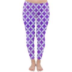 Circles3 White Marble & Purple Watercolor Classic Winter Leggings by trendistuff