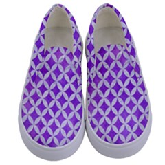 Circles3 White Marble & Purple Watercolor Kids  Canvas Slip Ons