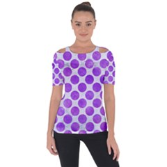 Circles2 White Marble & Purple Watercolor (r) Short Sleeve Top