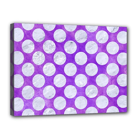 Circles2 White Marble & Purple Watercolor Canvas 16  X 12  by trendistuff