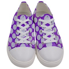 Circles2 White Marble & Purple Watercolor Women s Low Top Canvas Sneakers