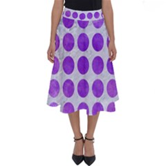Circles1 White Marble & Purple Watercolor (r) Perfect Length Midi Skirt