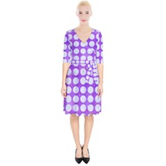 Circles1 White Marble & Purple Watercolor Wrap Up Cocktail Dress