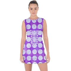 Circles1 White Marble & Purple Watercolor Lace Up Front Bodycon Dress