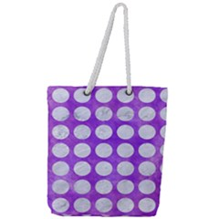 Circles1 White Marble & Purple Watercolor Full Print Rope Handle Tote (large)