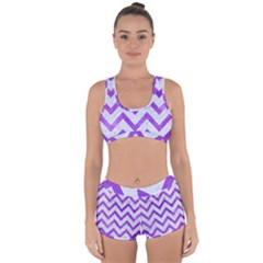 Chevron9 White Marble & Purple Watercolor (r) Racerback Boyleg Bikini Set