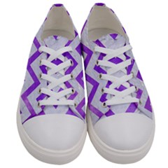 Chevron9 White Marble & Purple Watercolor (r) Women s Low Top Canvas Sneakers