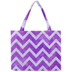 Chevron9 White Marble & Purple Watercolor Mini Tote Bag