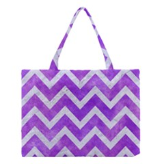 Chevron9 White Marble & Purple Watercolor Medium Tote Bag by trendistuff
