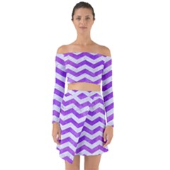 Chevron3 White Marble & Purple Watercolor Off Shoulder Top With Skirt Set