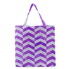 Chevron2 White Marble & Purple Watercolor Grocery Tote Bag by trendistuff