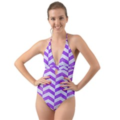 Chevron2 White Marble & Purple Watercolor Halter Cut Out One Piece Swimsuit by trendistuff