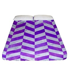 Chevron1 White Marble & Purple Watercolor Fitted Sheet (california King Size) by trendistuff