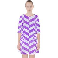 Chevron1 White Marble & Purple Watercolor Pocket Dress