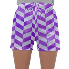 Chevron1 White Marble & Purple Watercolor Sleepwear Shorts