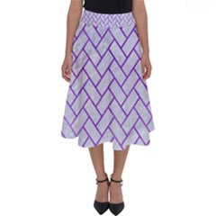 Brick2 White Marble & Purple Watercolor (r) Perfect Length Midi Skirt