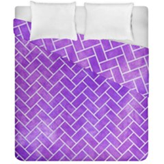Brick2 White Marble & Purple Watercolor Duvet Cover Double Side (california King Size) by trendistuff