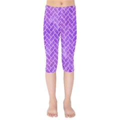 Brick2 White Marble & Purple Watercolor Kids  Capri Leggings