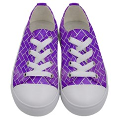 Brick2 White Marble & Purple Watercolor Kids  Low Top Canvas Sneakers