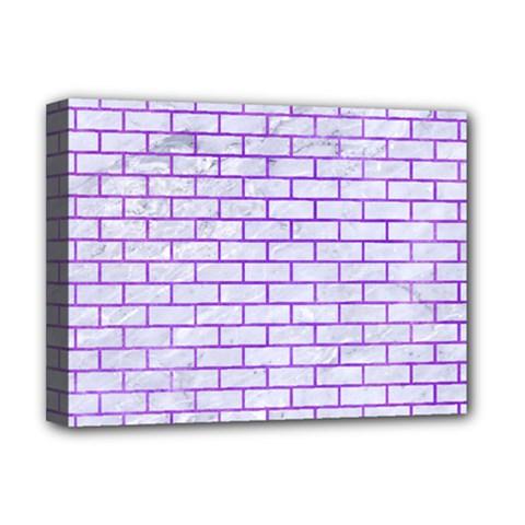 Brick1 White Marble & Purple Watercolor (r) Deluxe Canvas 16  X 12   by trendistuff