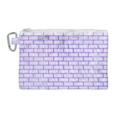 Brick1 White Marble & Purple Watercolor (r) Canvas Cosmetic Bag (large)