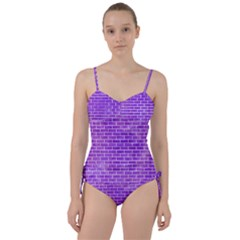 Brick1 White Marble & Purple Watercolor Sweetheart Tankini Set